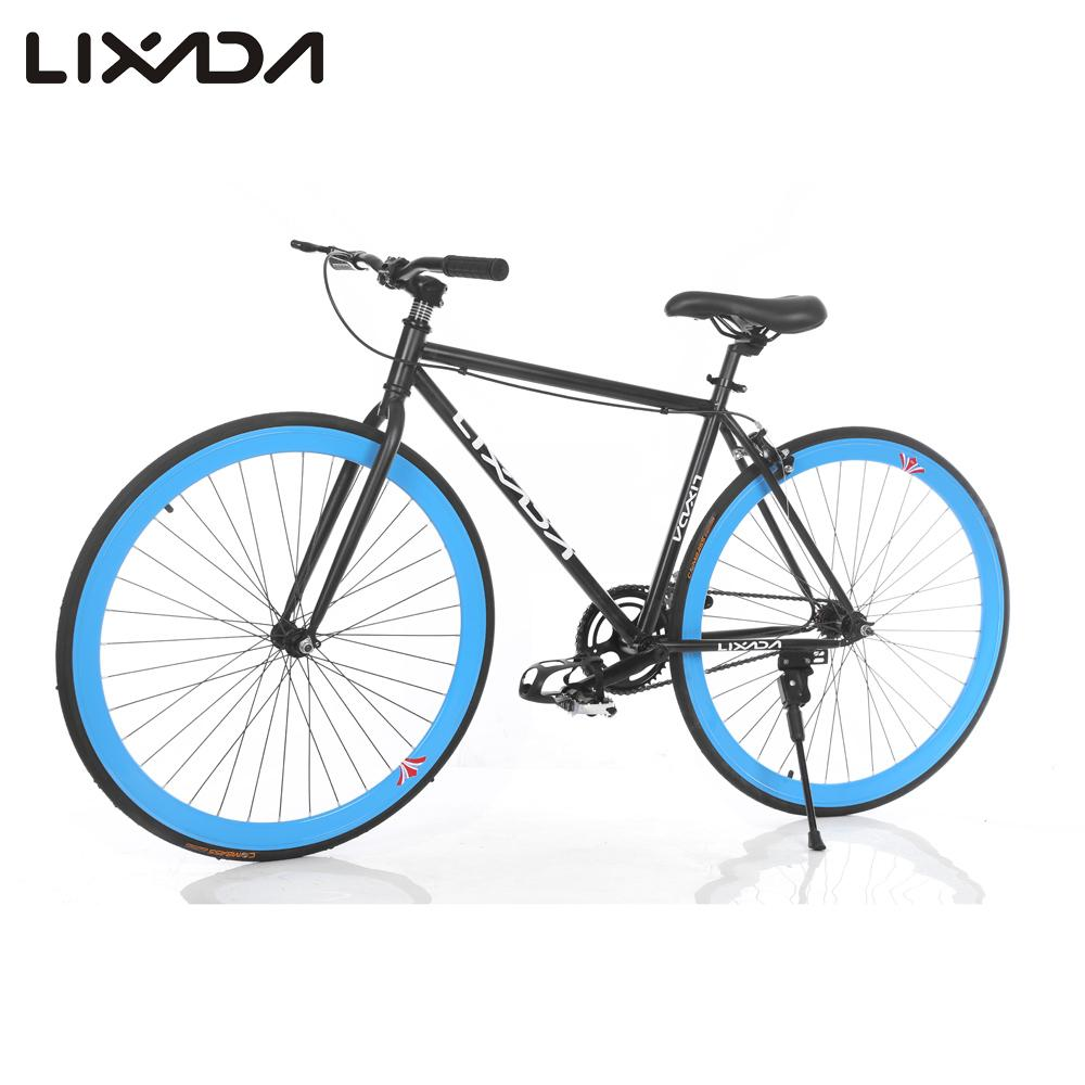 lixada 700c carbon steel bicycle high configuration cycling road bike single speed bike fixed gear