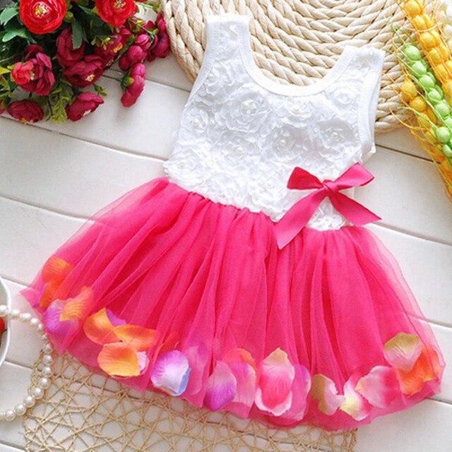 46bd69a48 Fashion Summer Colorful Mini Tutu Dress Petal Hem Dress Floral Clothes  Princess Baby Dress Summer For Baby Dresses Girl