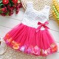 Moda de Verano Colorido Mini Tutu Dress Pétalo Hem Vestido Floral de Ropa de Bebé de La Princesa Vestido de Verano Para Bebé Vestidos de Niña