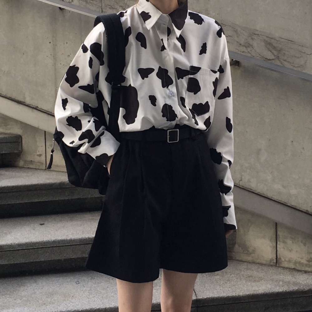 2019 Women's Summer Autumn Cow Printting Blouses +Shorts, Long Sleeve Shirts + Wide Leg Shorts