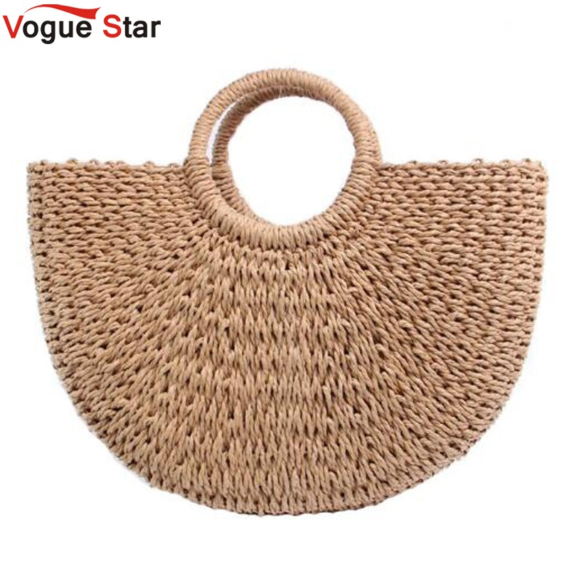 New 2018 Summer Beach Bag Hand Woven Straw Bags Fashion Women Casual Tote Large Capacity Shopping Bags Women Handbags LB960 2016 fashion design straw knitting women shoulder bags beach bags women scarf tote handbags for ladies summer tote bags t400