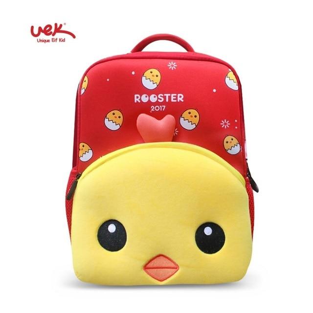 45efefe2fb UEK nursery school bags kid s backpacks red girl School backpack waterproof  baby chicken Print Orthopedic backpack for kids boys
