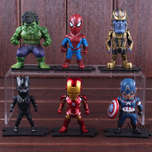 Marvel Action Figure Avengers Captian America Thor Hulk Iron Man Spiderman Thanos Black Panther Figures Toy 6pcs/set 8-9cm(China)