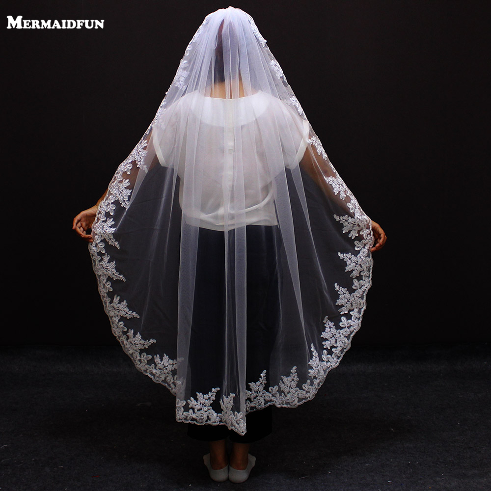 Real Photos Lace Edge One Layers  1.5 Meters Wedding Veil With Comb White Ivory Bridal Veil Wedding Accessories