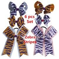Conjuntos de arco de cabelo 6 Pcs listras Da Zebra série grampo de Cabelo hairbow elogio arcos de cabelo arco Faixas de Cabelo Elásticos Rabo De Cavalo arco Meninas Encantadoras