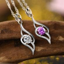 Everoyal Charm Crystal Purple Pendant Necklace For Girls Jewelry Female Trendy 925 Sterling Silver Necklace Women Accessories everoyal trendy crystal ocean pendant necklace girls accessories female fashion 925 sterling silver necklace for women jewelry