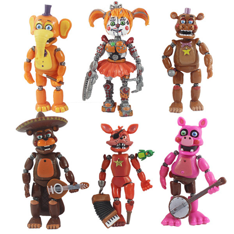 Toys-Set Toy-Figures Light FNAF Action Freddy's-Bear Nendoroid Anime Blocking At PVC