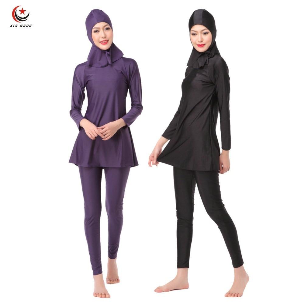 3pcs Womens Full Cover Long Muslim Swimwears Islamic Swimsuits Ladies Arab Islam Beach Wear Modest Hijab Surf Swimming Burkinis