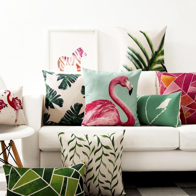 Tropical Plant Pattern Chair Cushion Decorative Pillows Creative Bed Pillow  Cushion American Flamingo Cushions Home Decor