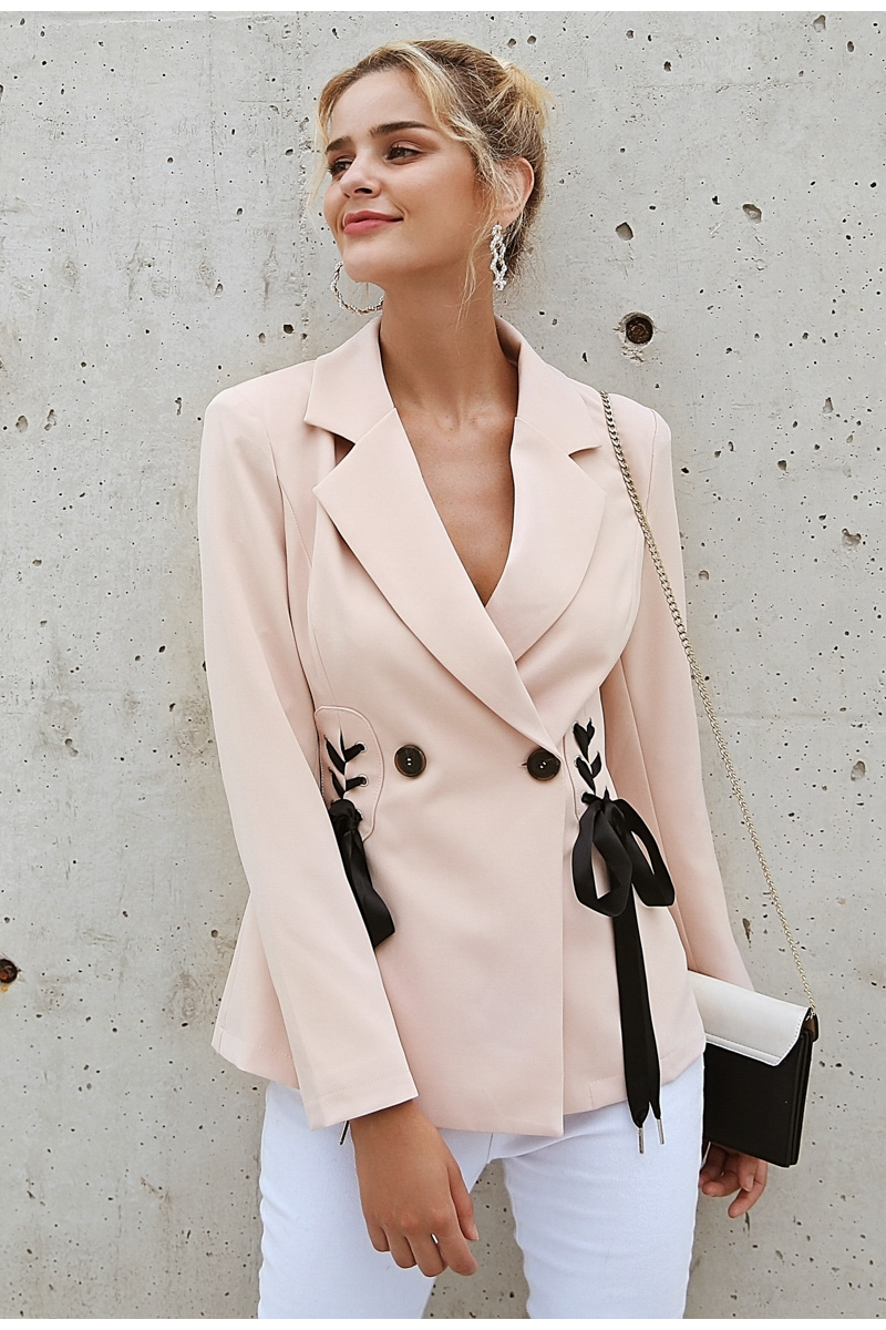 Simplee Autumn OL double breasted suit coat Elegant side tie up cool winter outwear V neck short coat office lady 2018 3