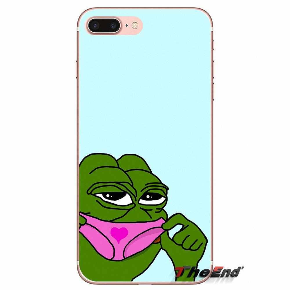 Dễ thương Frog Meme Động Vật vui Đối Với iPhone X 4 4 S 5 5 S 5C SE 6 6 S 7 8 Cộng Với Samsung Galaxy J1 J3 J5 J7 A3 A5 2016 2017 TPU Trường Hợp Bìa
