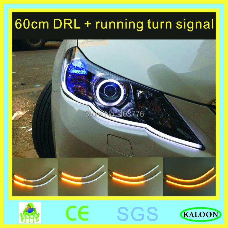 1 pair car flexible DRL turn signal white yellow led flowing bar silicone daytime running light headlight strip free shipping