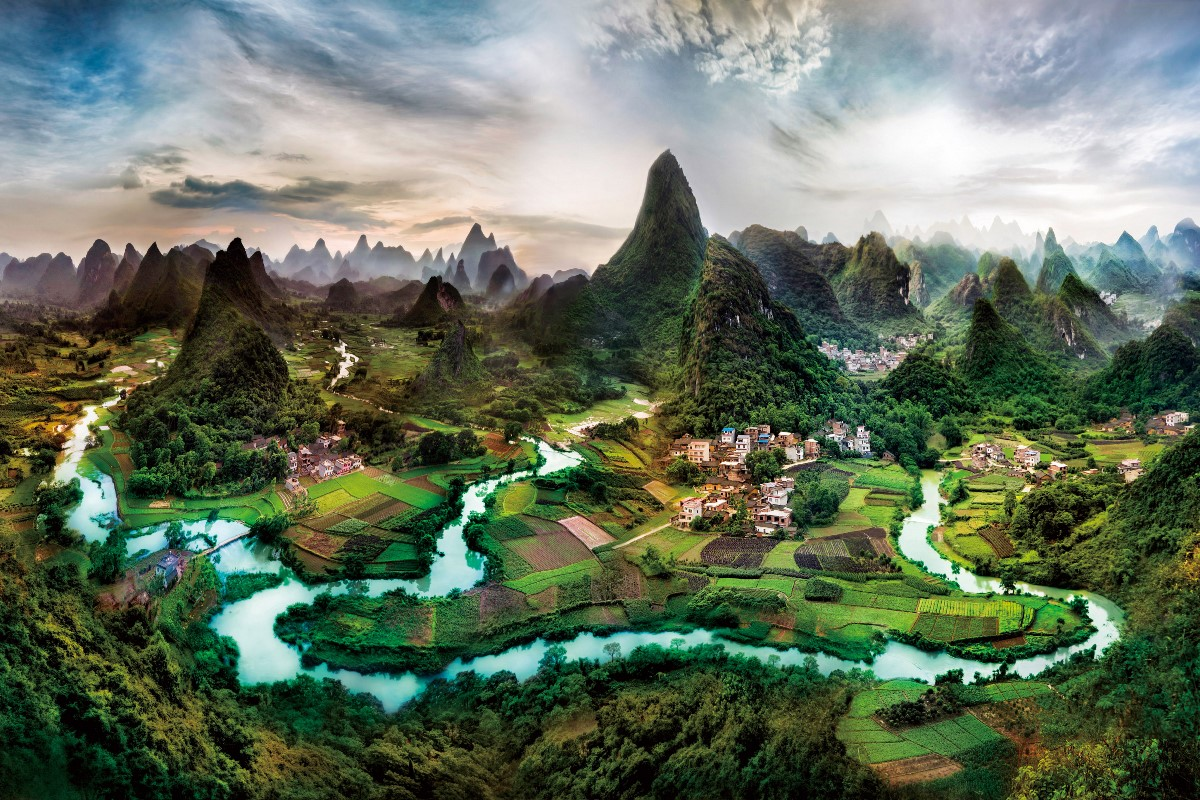 Surreal China Field Forest Guilin Landscape Li River Nan
