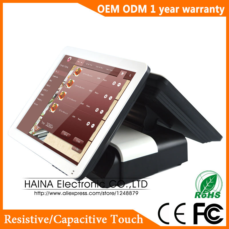 Image 3 - Haina Touch 15 inch Touch Pos Terminal Machine, Dual Screen POS Machine for Restaurant and Retail Shop-in Desktops from Computer & Office