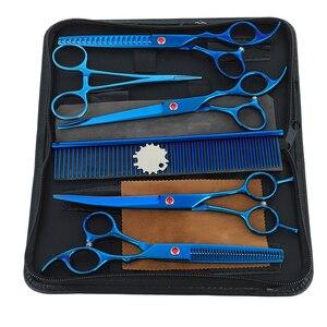 Image 3 - はさみ hairdres 7.0 インチのプロフェッショナルペットはさみ犬グルーミング高品質ストレート & 間伐湾曲したハサミ 6 ピース/セット