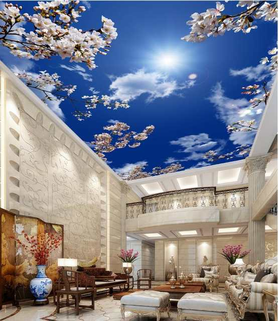 US $13 6 61% OFF|HD Beautiful Cherry Blue Sky And White Clouds Wallpaper 3D  Sky Ceiling Wallpaper Living Room Restaurant Hotel Decor 3d Ceiling-in