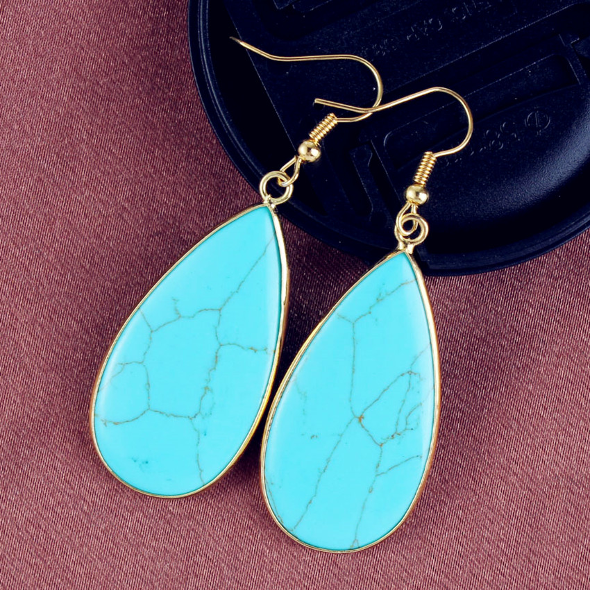 100-Unique 1 Pair Trendy Light Yellow Gold Color Green Turquoises Stone Earrings Water Drop Jewelry