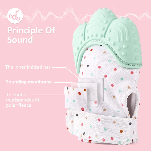 Teething Self-Soothing Pain Relief Silicone Baby Mitt