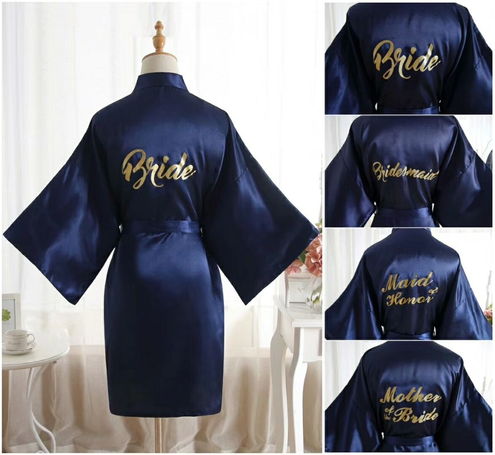Silk Satin Wedding Bride Bridesmaid Robe Solid Bathrobe Short Kimono Robe Night Robe Bath Robe Fashion Dressing Gown For Women(China)