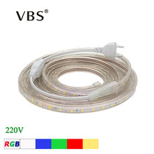 Tira de luces LED AC 220V, 5050 RGB SMD, tubo de silicona impermeable, 1/2/3/4/5/6/7/8/9/10/12/15/20m, RGB, blanco 60LED/m + Enchufe europeo