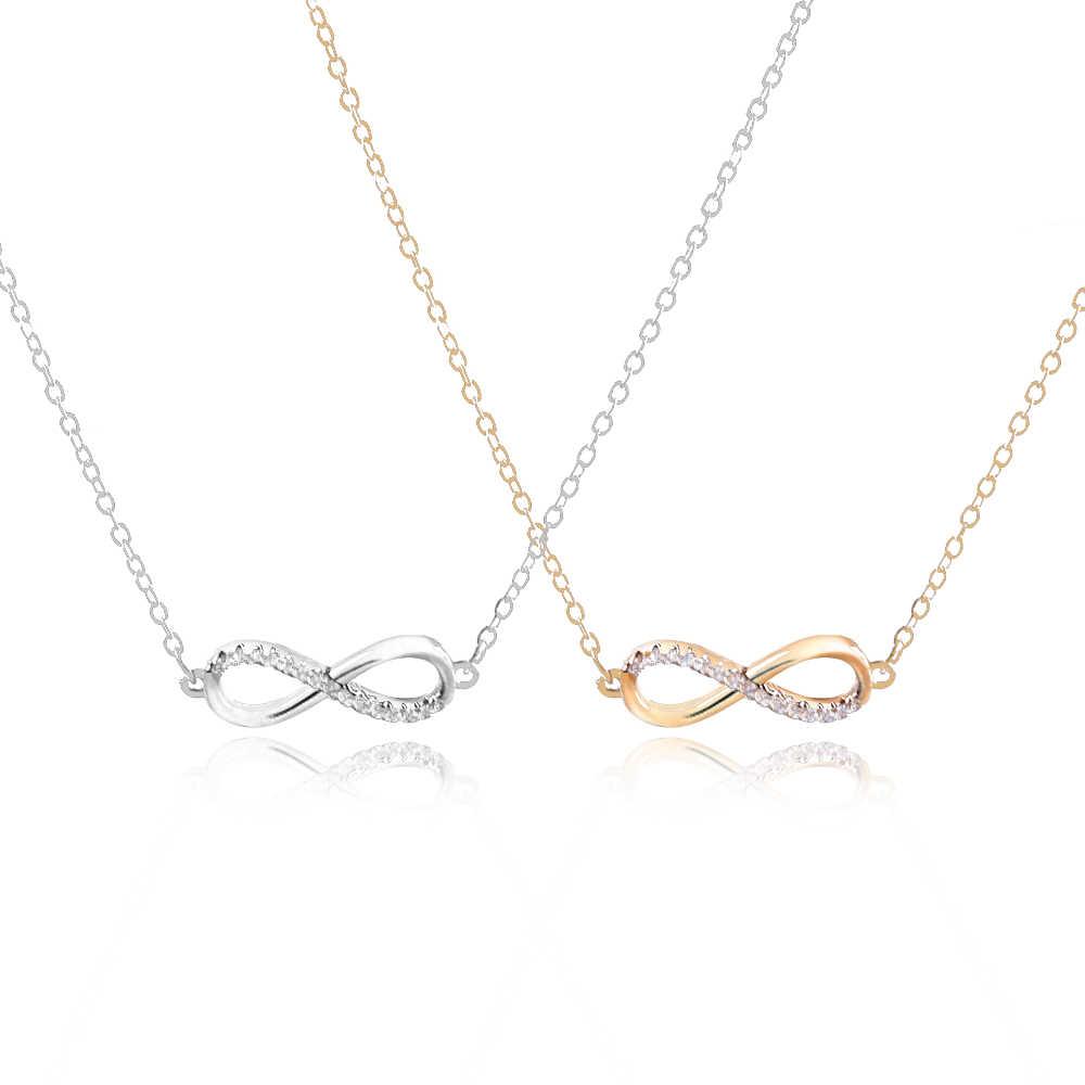 7422367dddef Plata oro Color minimalista collar damas joyería de infinito encanto  infinito suerte número 8 gargantilla