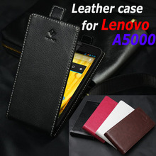 Classic Luxury Up and Down Genuine Leather case For Lenovo A5000 A 5000 Flip Cover case housing With Card Slot Phone Cover Cases