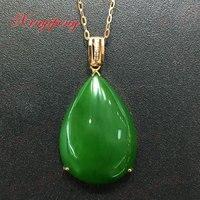 18 k oro rosa con 100% naturale giada ciondolo Spinaci è verde Semplice e facile Fine jewelry