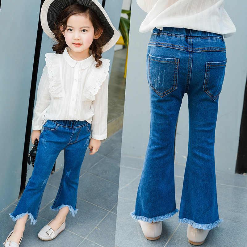 เสื้อผ้าเด็ก2018ฤดูใบไม้ผลิสาวยุโรปและอเมริกาใหม่พู่f laredกางเกงเด็กบางกางเกงยีนส์เด็กกางเกง