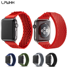 LPWHH Silicone Rubber Watchband For Apple Watch Band for Iwatch Bands 44mm Soft Hollow Out 38mm 40mm 42mm Strap Red Black