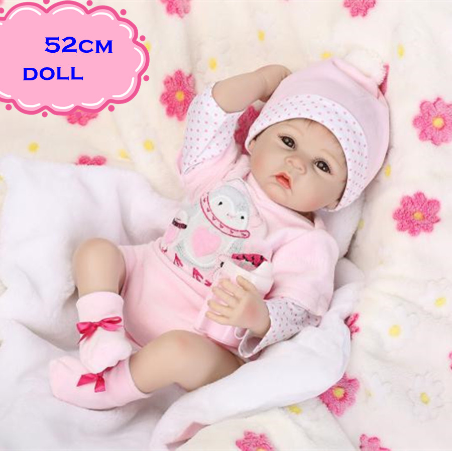 New NPK Silicone Reborn Baby Dolls About 52cm Realistic Lovely Newborn Baby Doll Toy Wearing Pink Clothes Set For Kids Best Gift spaghetti strap ribbed skinny tank top