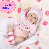 New NPK Silicone Reborn Baby Dolls About 52cm Realistic Lovely Newborn Baby Doll Toy Wearing Pink