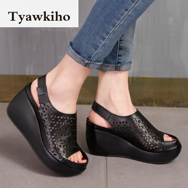 Tyawkiho Genuine Leather Sandals Women Summer Shoes Retro Hollow Out 7 CM High Heels Wedge Set Foot Women Leather Sandals 2018 tyawkiho genuine leather women sandals 7 cm high heel pointed toe summer shoes hollow out retro sandals handmade women shoe 2018