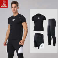 Mens Running Sets Sport 3pcs Suits mannen Turnkleding Fitness Kleding Training Basketbal Kleding Sportkleding Voetbal Dragen MP051