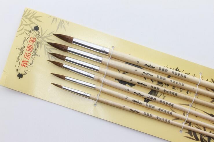 6pcs/set Horse Hair Wooden Handle Oil Paint Watercolor Brush Set Art Acrylic Painting Supplies