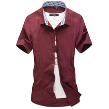 2019 Summer Men Hawaiian Shirt Mens Solid Color Short Sleeve Dress Slim Camisa Plus Size 5XL 011