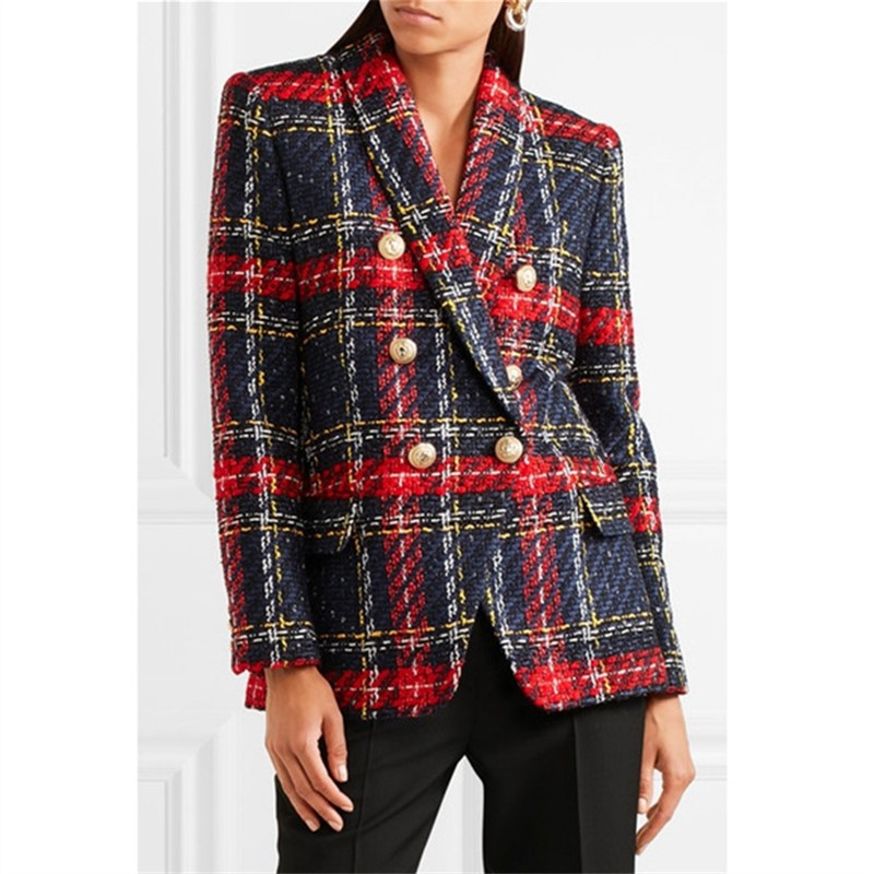 Euramerican New Fashion Popular Line And Plaid Knitting Weaving Full Sleeve Polyester Double Breasted High Quality Blazers