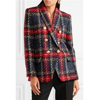 2018 Euramerican New Fashion Popular Line And Plaid Knitting Weaving Full Sleeve Polyester Double Breasted High Quality Blazers