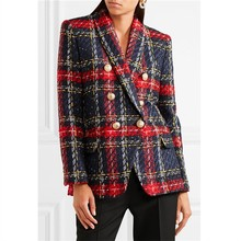 2018 Euramerican новая мода популярные линии и плед Вязание Ткачество длинный рукав полиэстер двубортный Высокое качество пиджаки для женщин
