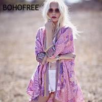 BOHOFREE Holiday Kaftan Kimono Floral Print Outerwear Blusas Open Stich Beach Tops Mujer Boho Poncho Blouses Bohemian Women