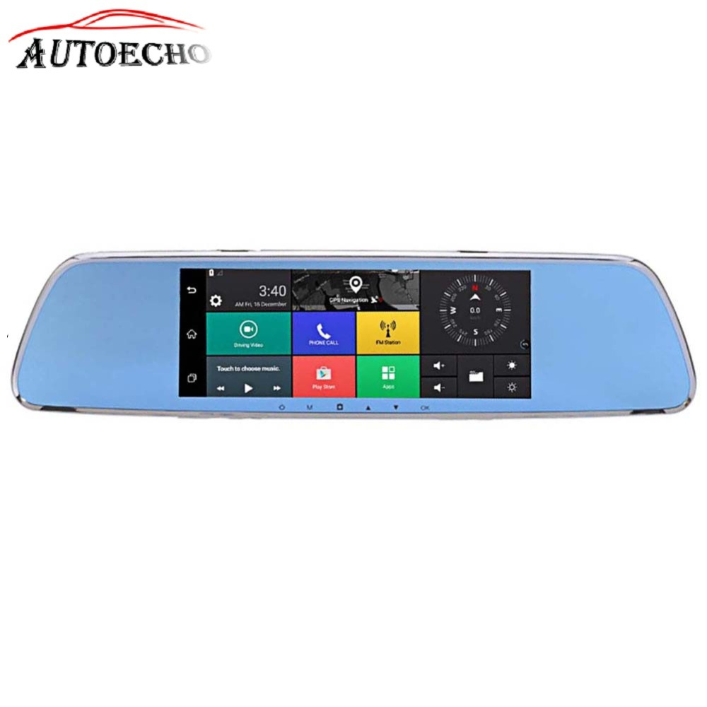 7inch Bluetooh GPS Driving Recorder Dual Camera 3G Smart Rearview Mirror Touch Screen HD Android Remote Support Car Wifi FM TF цена