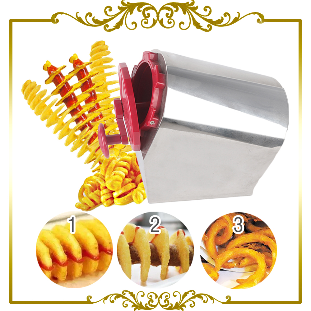 цена на ITOP Potato Apple Slicer Stainless Steel Manual Twisted Spiral French Cutter Red New Machine
