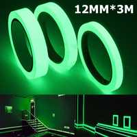 Cinta luminosa 12MM 3M cinta autoadhesiva visión nocturna resplandor en la oscuridad advertencia de seguridad etapa de seguridad hogar decoración de cintas