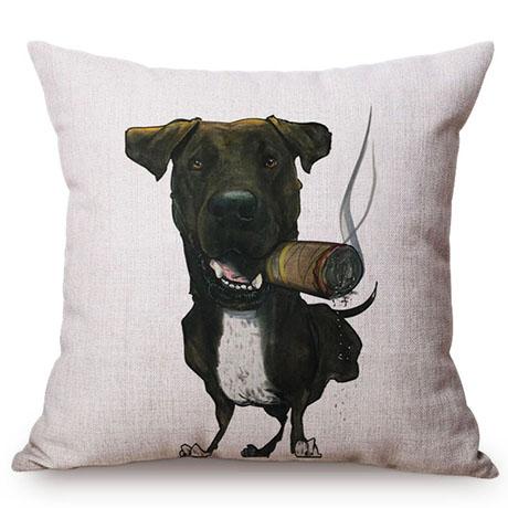 Pet Dog Animals Funny Style Cushion Cover Dachshund Schnauzer Dog Children Like Cotton Linen Sofa Decorative Throw Pillow Case M110-2