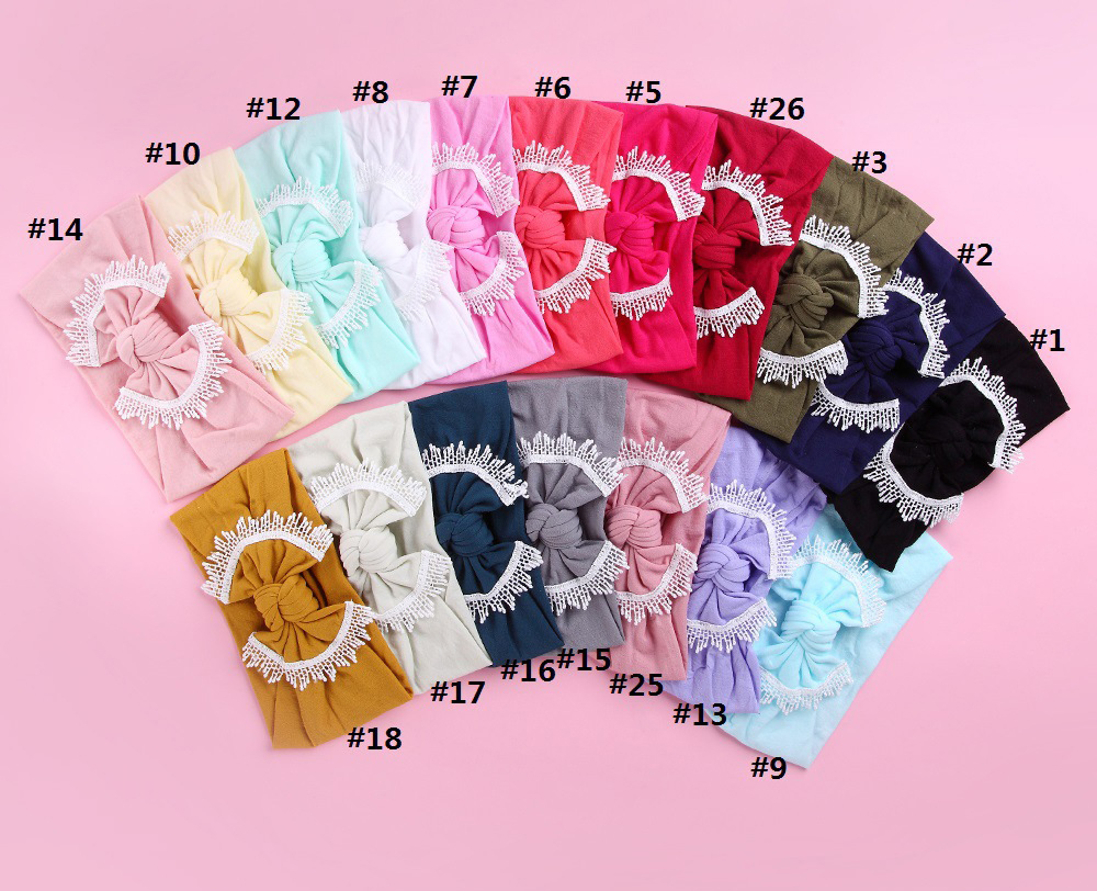 30pc lot 27 color U Pick 2019 New Baby Lace Trim Nylon Headband Bowknot Turban Headwrap
