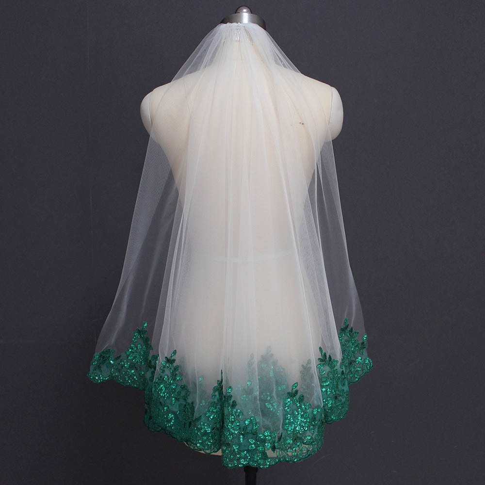 Green Lace Ivory White Tulle Short Wedding Veil Shine Sequins Lace One Layer Green Bridal Veil with Comb Wedding Accessories