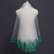 Green Lace Ivory White Tulle Short Wedding Veil Shine Sequins Lace One Layer Green Bridal Veil with Comb Wedding Accessories shine ring sr28 green