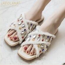 Lapolaka/Новая модная женская обувь, большие размеры 33-43, повседневные летние шлепанцы на плоской подошве с кристаллами, женская обувь