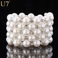 U7 Statement Multi-layer Pearl Jewelry Women Rhinestone Fashion Trendy Wide Round Black Strand Freshwater Pearl Bracelets H466