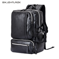 BXJZHTLRZK retro laptop leather travel bag men's PU travel casual backpack black personality hit color large capacity handbag