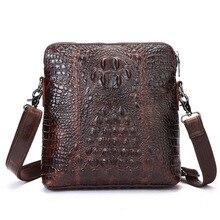 Brand new real genuine leather men messenger bags crocodile pattern leather shoulder bags mens handbag business bag